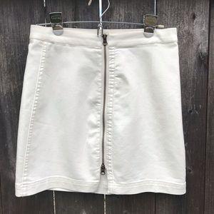 Free People White Zip Up Skirt